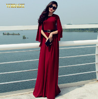 2014 New European and American high-end shawl autumn chiffon long dress slim plus size wine red/blue women S-XXL