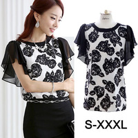 Plus Size Summer Chinese Ink Printing Butterfly Short Sleeve Rose Flower Printed Women Blouse Chiffon Shirt Blusas Femininas