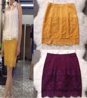 Appliques High Waisted Skirt Women Bandage Plus size chiffon Midi Lace Skirt Saias Femininas Pencil Skirt For Office SS14K006