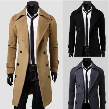 2015 зимние мужские пальто с отложным воротником двойной брестед ветровка пуховик ...