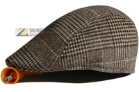 Autumn / Winter Korean version of the influx of people minimalist outdoor plaid beret men hat lady cap ,Free Shipping
