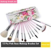 2014 Professional Makeup kits 12 PCs Brush Cosmetic Facial Make Up Set tools With Rose Flower Bag Makeup Brush Tools Hot Sales