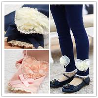 new 2014 children girl fashion navy blue pink beige cotton flower leggings kids autumn fall winter princess leggings bottom