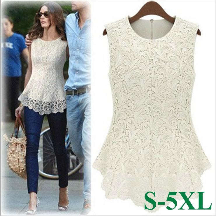 New 2015 Desigual Women White Lace Blouses Sexy Plus Size Crochet Lace Tops Women Blusa Renda Sleeveless Shirts S-5XL(China (Mainland))