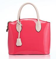 Summer Candy Color Patent Leather Women Handbags Famous Brand Designer Shell Totes Bags Female Vintage Block Color Shoulder Bag