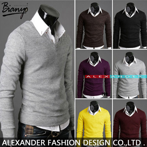 2015 New Fashion mens sweaters Thickening rabbit wool cloth multicolor v-neck render knit sweater jacket NK-XY-020(China (Mainland))