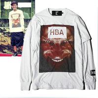 US hip hop HBA  hood by air Portrait eyes print t shirt  short sleeve + long sleeve suit 3 color yy105