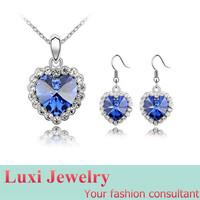 9 Colors True Love Luxury Heart Crystal  Jewelry Set Necklace Pendant Drop Earrings  Set Fashion European Statement Jewelry 2014