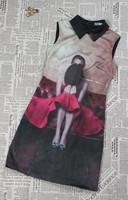 H&Q 2014 new runway brand summer fashion vintage Elegant lady Hat girl print pattern plus size one piece dress S,M,L,XL,XXL
