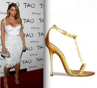 REAL PHOTO!Big Size 13 Kim Kardashian Metallic Gold Leather Chain Embellishment T-strap Sandals Patent Leather Summer Shoes