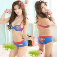 factory directly superman bra set japanese style girl push up underwear set fashion 100%cotton underwear sets wholesale&retail