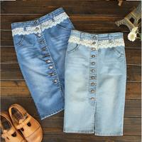 Denim Lace Pencil Skirts Women Split Button Opening Midi Long Jeans Skirt Casual saias jeans femininas 2014 Summer Plus Size