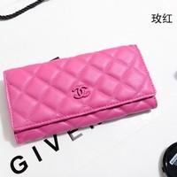 genuine leather Fashion C** Brand wallets Hasp Plaid purse women clutch(Black Pink Rosered Blue Purple)
