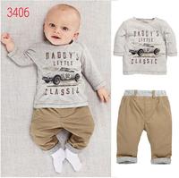 2014 spring autumn suit Pure cotton clothing set gentleman boys t-shirt + pants fashion two-piece suit free shipping