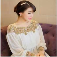 Free Shipping 2014 New fashion luxury chiffon beaded women kaftan abaya O-Neck evening dress long brand prom dress