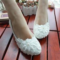 Bridesmaid shoes fashion white color applique female bridal wedding shoe pearl flower decoration women's wedding shoe