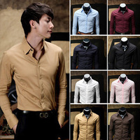 Super Sales !! Free Shipping Men's 8 Colors British Style M-XXL Fit Slim Solid Cotton Long Sleeve Casual Shirts Men
