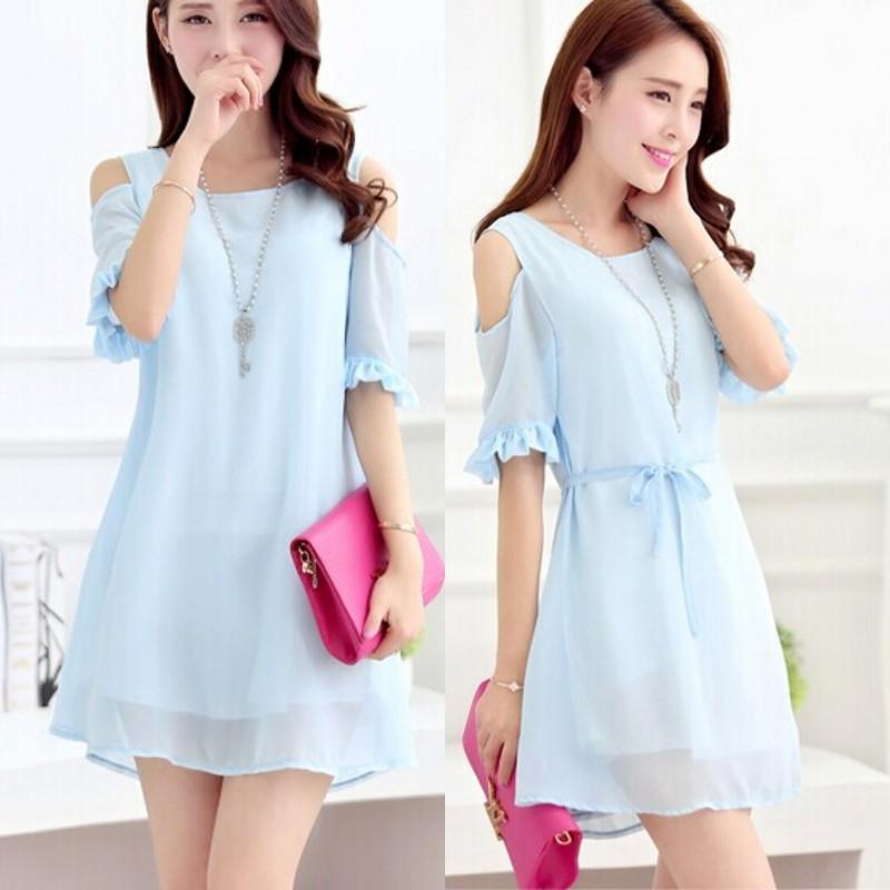 Summer dress 2014 New Korean woman clothes Lotus sleeve Chiffon cute strapless dress plus size XXL novelty t shirt dress 21572(China (Mainland))