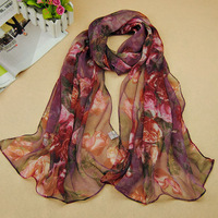 Korean fashion colorful floral flowers roses Chiffon scarf lady Tassel Scarf Wrap Shawl scarves women 2014 free shipping PT35