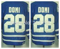 Wholesale Men's Toronto Ice Hockey Jerseys #28 Tie Domi CCM Blue Authentic Jersey 100% Polyester Jersey Stitched