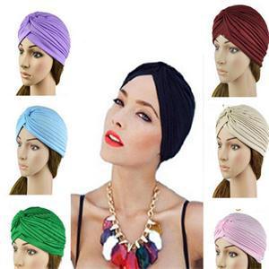 Hotsale India Caps Retro Headband Hijab Turban Dual Purpose Solid Pleated Women Kerchief Headwear Shower Hat