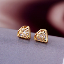 3 colors pure simple real gold plated fashion crystal earrings for women jewelry wholesale E-shine Jewelry