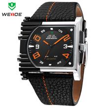 Weide militar relojes para hombre marca de lujo completa caja de acero reloj deportivo Diver reloj del cuarzo del cuero de múltiples funciones llevó la exhibición