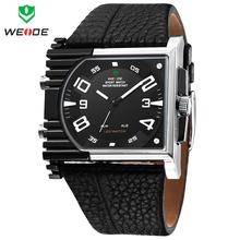 Weide Mens relojes deportivos caja de acero llena correa de cuero del cuarzo LED Digital Alarm fecha día Homems Relogio Reloj