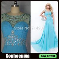 EVT32 Attractive jewel neck cap sleeve beaded open back chiffon vestido de festa prom dresses