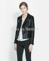 TP2326  Street Locomotive Suit Lady New Autumn Turn-down Collar PU Leather Jacket Zipper Pocket Women Fashion Slim Coat Stock