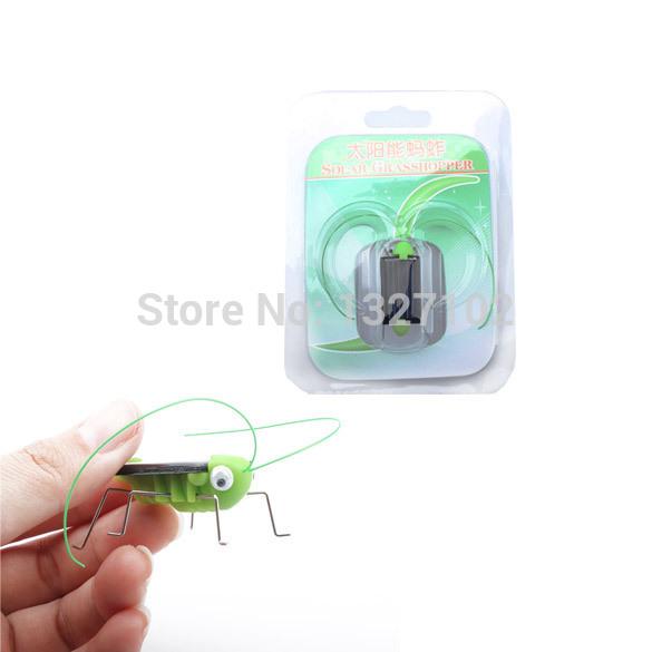 Cute mini Solar Power Energy Crazy Grasshopper Cricket children funny Toys MTY3(China (Mainland))