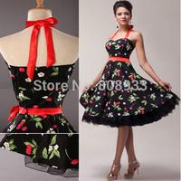 Fashion Bandage Halter Cotton 50s Vintage Dress Retro Pinup Rockabilly Swing Dress Black Evening Ball Prom Party Dresses CL4595