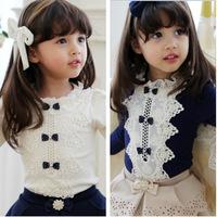 5pcs/lot 2014 autumn new arrival baby girls princess  pear lace bow white  t shirt kids fashion blouse 862