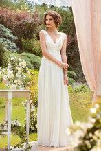 Vestido Direct Selling Rushed Natural 2014 Fashion Free Shipping Wedding Dress - Diyouth Popular Long V-neck Bridal Gown Custom(China (Mainland))