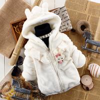 Retail Bunny Baby Girls Hoodies Rabbit Kids Winter Jackets & Coats Zipper Children's Soft Velvet Jackets for Girls White Pink