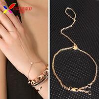 2014 fashionable gold plated heart linked finger loop hand harness bracelet & bangles for women bijoux