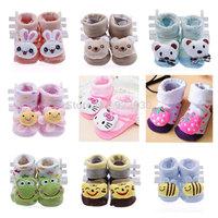 Infant Toddler Newborn Baby Boys Girls Anti Slip Non-slip Anti slip Cotton Animal Boot Slipper Shoes Socks Free shipping