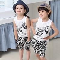 Free shipping  Children's Clothing  Boys  Girls Clothing Sets  Summer 2014  Zebra Stripes  Set  95% cotton