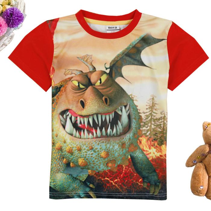 Boys T shirt 2015 NOVA new Kids wear How to Train Your Dragon boy cotton cartoon short sleeve 3 d printing T shirts C5050Y#(China (Mainland))