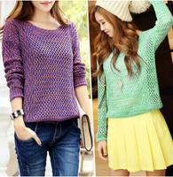 2015 Winter Women  Knitwear Sleeve  loose Pullover blouse Tops Knitting Sweater Coat Shawl Women Winter Warm Sweater