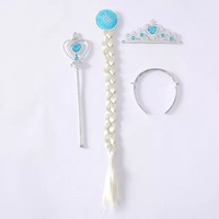 Child hair accessories Frozen Elsa Anna synthetic hair wig extension crown headband magic wand 3pcs set cosplay acessories