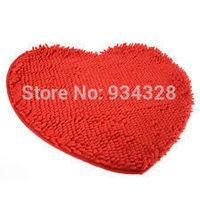Home Decor Supplies Fluffy Red  Romantic Love Heart Bedroom Rug Carpet Floor Bath Mat Chenille Doormat - Dorp Shipping