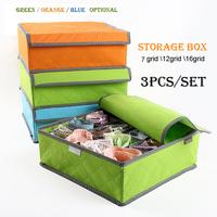 High-Quality 3pcs/Set Underwear Storage Boxes Bin Foldable Box/Bamboo Charcoal Fibre Storage Box For Bra,35*27*11 Free Shipping