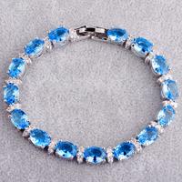 Wholesale Fashion 925 Silver Lady's Party's Oval Cut Blue Topaz & White Topaz 925 Silver Bracelets