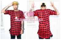 Hip Hop Lengthen Red Plaid cotton t shirts for men / Arc Hem Gold Zipper Sides Men T-Shirts / Casual plaid flannel Men Tee M-3XL