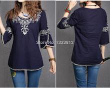 2014 venda quente de verão étnico mulheres blusa bordado gola redonda Boho Gypsy blusa 7 minutos de manga camisas grátis frete(China (Mainland))