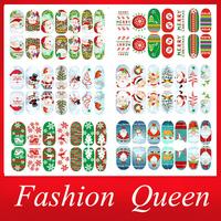 Newest Christmas Nail Stickers,6sheets/lot Green Tree Glitter Full Cover Adhesive Nail Tips Patch,DIY Nail Art Decoration Tools