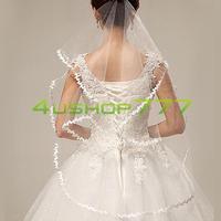 Monolayer Ivory White Flower Edge Cathedral Bride Elbow Wedding Veil 1T Mantilla Free Shipping EQ8777