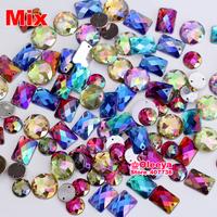 (5% off 2 bags)2014 100pcs  mix shape mix color  rhinestones Sew on Rhinestones Acylic rhinestone buttons Flat back gems DIY