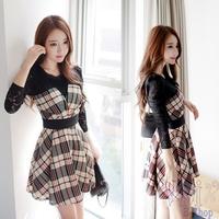 2014 Autumn New Fashion Women Lace Long Sleeve Dresses Casual Splicing Grid Plaid Print Winter Dress Plus Size S-XL Vestidos